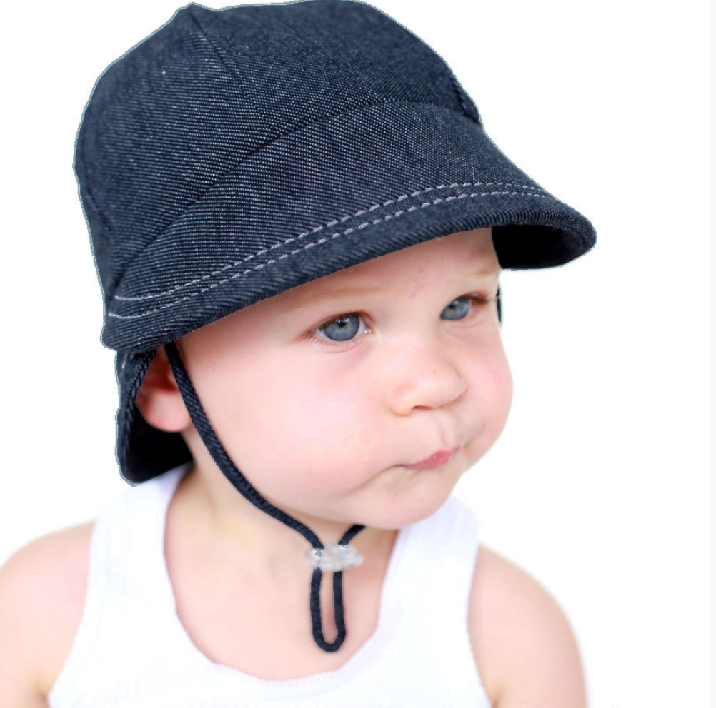 Legionnaire Hat with Strap - Denim, Bedhead hat - All Things Babies