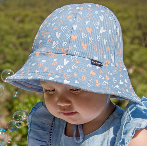 Girls Baby Bucket Hat 'Heart' Print, Bedhead hat - All Things Babies