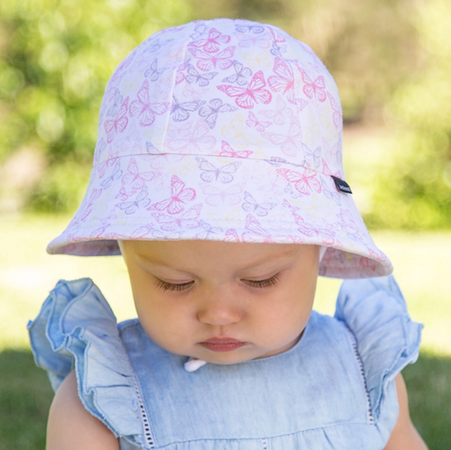 Girls Baby Bucket Hat 'Butterfly' Print, Bedhead hat - All Things Babies