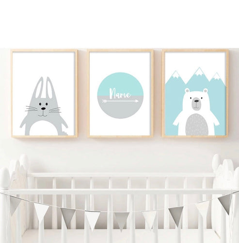 Bunny and Bear Custom Name Print, Canvas print - All Things Babies