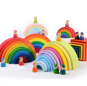 Montessori Rainbow Block, Wooden toy block - All Things Babies