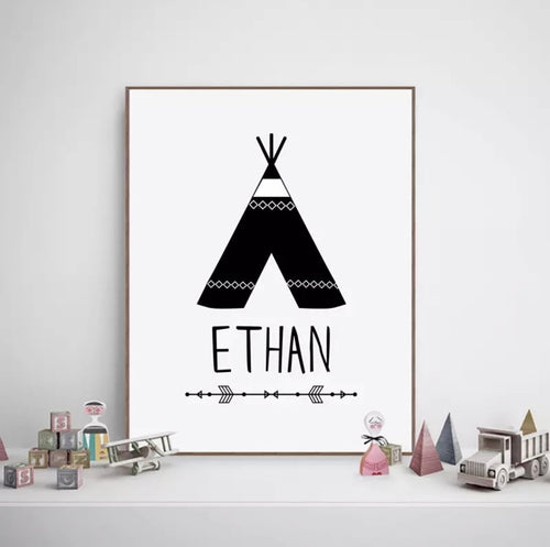 Tee Pee Custom Name Print, Canvas print - All Things Babies