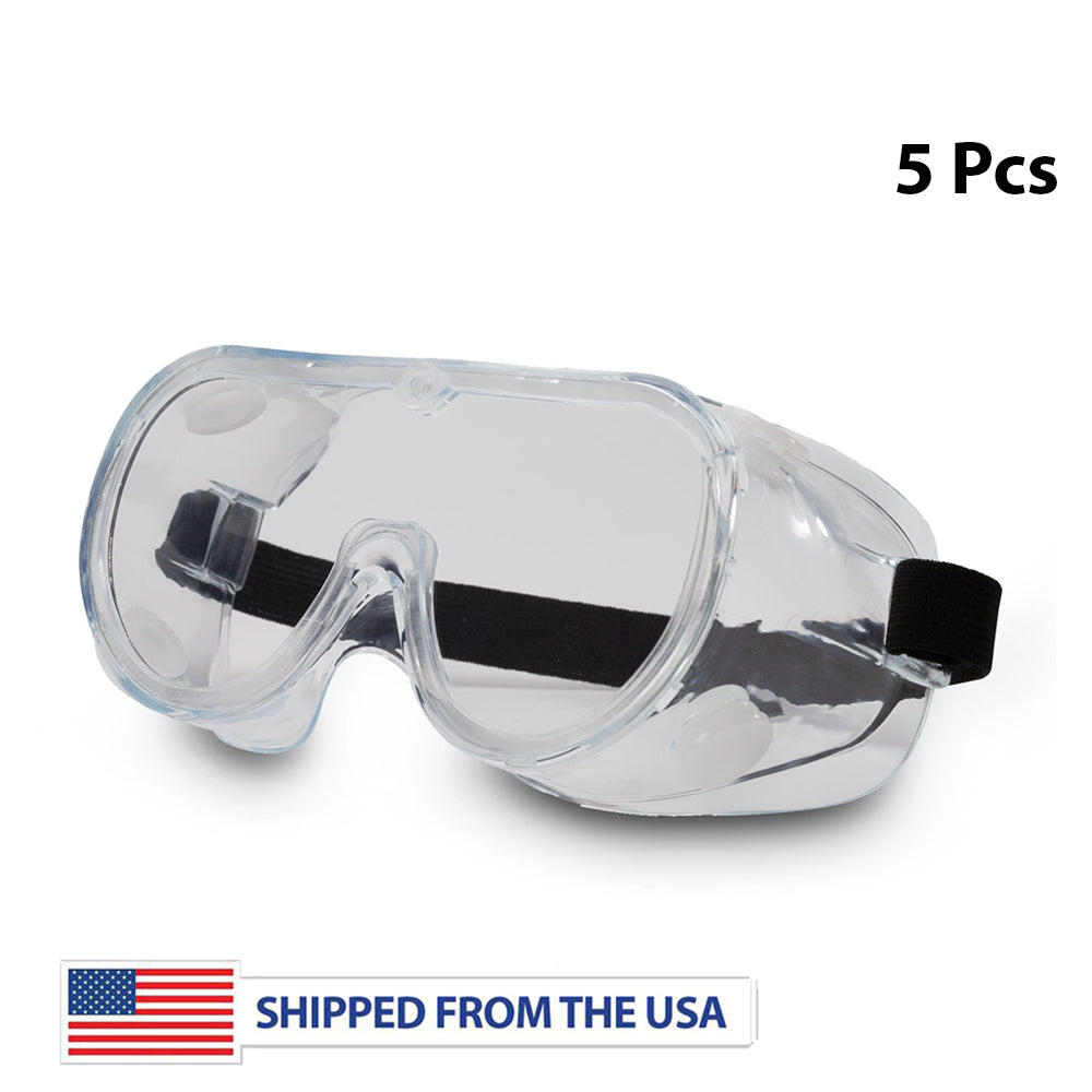 Safety Goggles with Elastic Head Band - 5 Pack