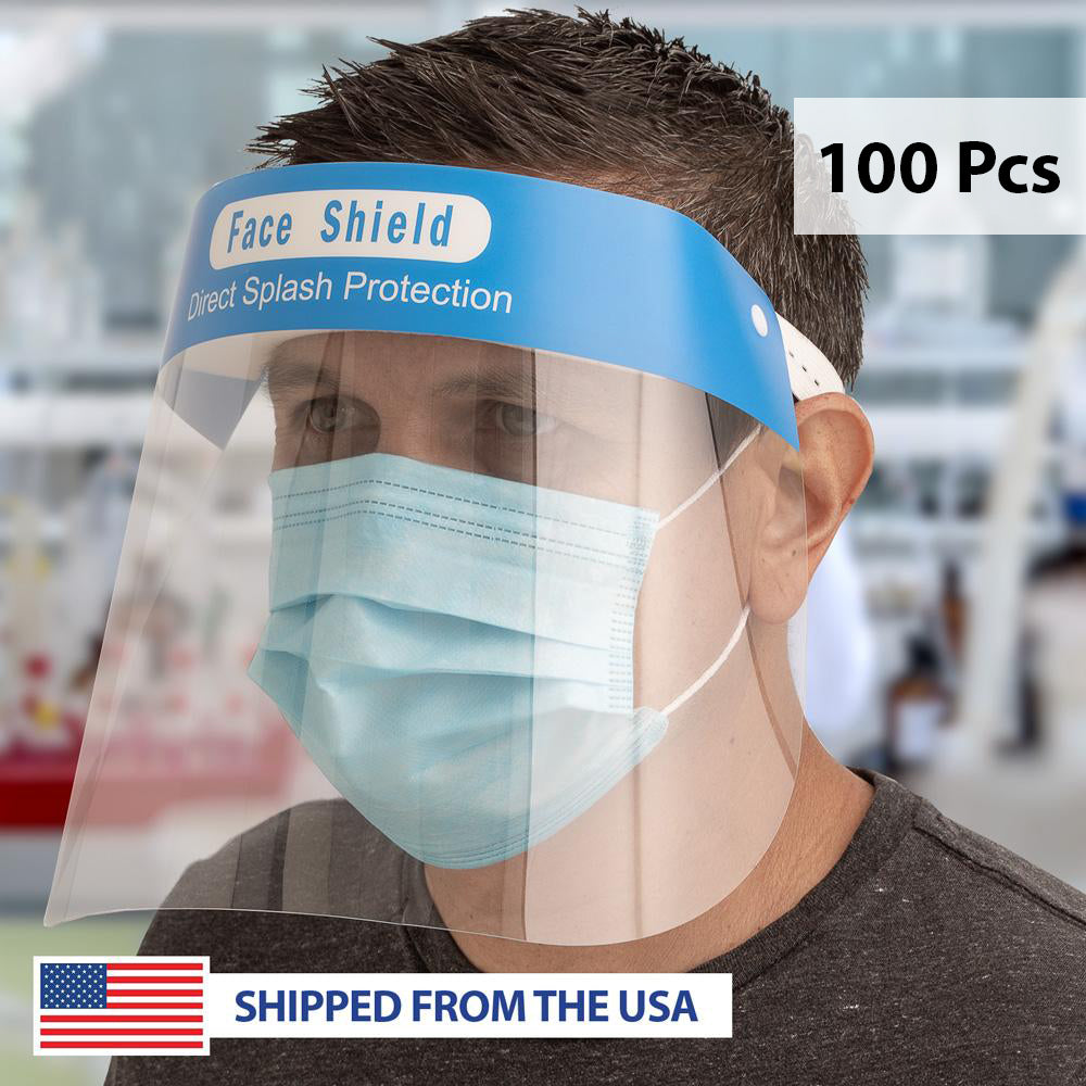 Clear Protective Face Shields with Elastic Strap - 100 Pcs