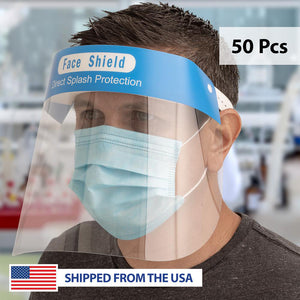 Clear Protective Face Shields with Elastic Strap - 50 Pcs