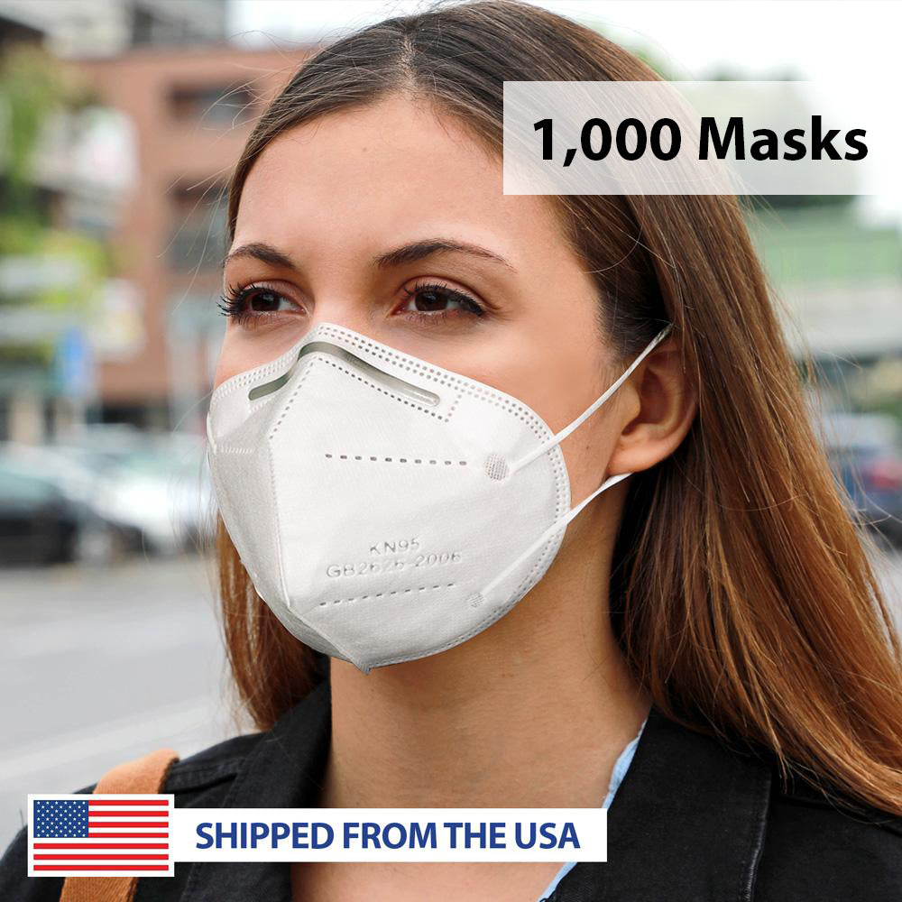 KN95 Filtration GB2626-2006 Standard 4-Ply Personal Protection Face Mask - 1000 Masks
