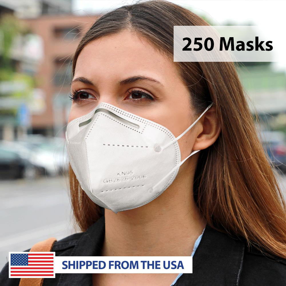 KN95 Filtration GB2626-2006 Standard 4-Ply Personal Protection Face Mask - 250 Masks