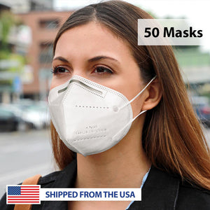 KN95 Filtration GB2626-2006 Standard 4-Ply Personal Protection Face Mask - 100 Masks