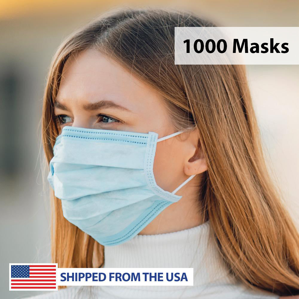 3-Ply Layered Disposable Personal Protection Face Mask - 1,000 Masks