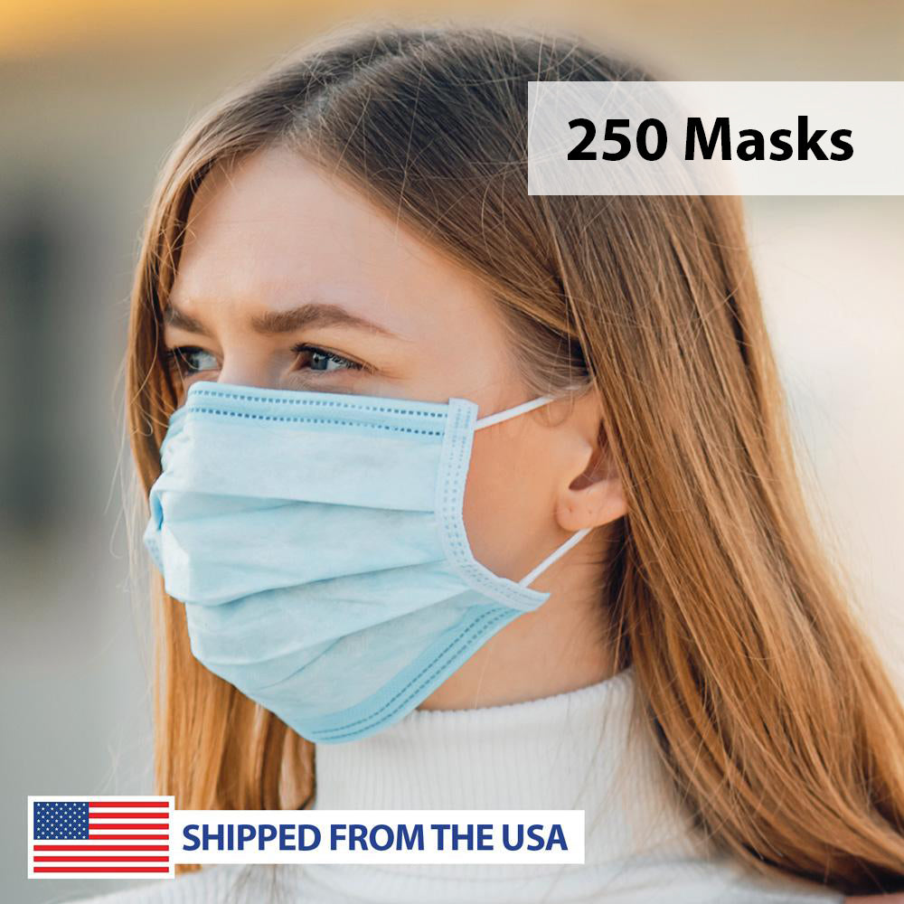 3-Ply Layered Disposable Personal Protection Face Mask - 250 Masks