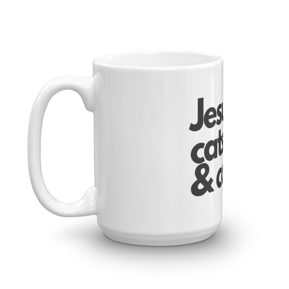 """Jesus, cats & coffee"" Mug"