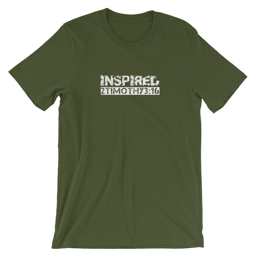 "2 Timothy 3:16 ""INSPIRED"" Christian T-Shirt for Men/Unisex"