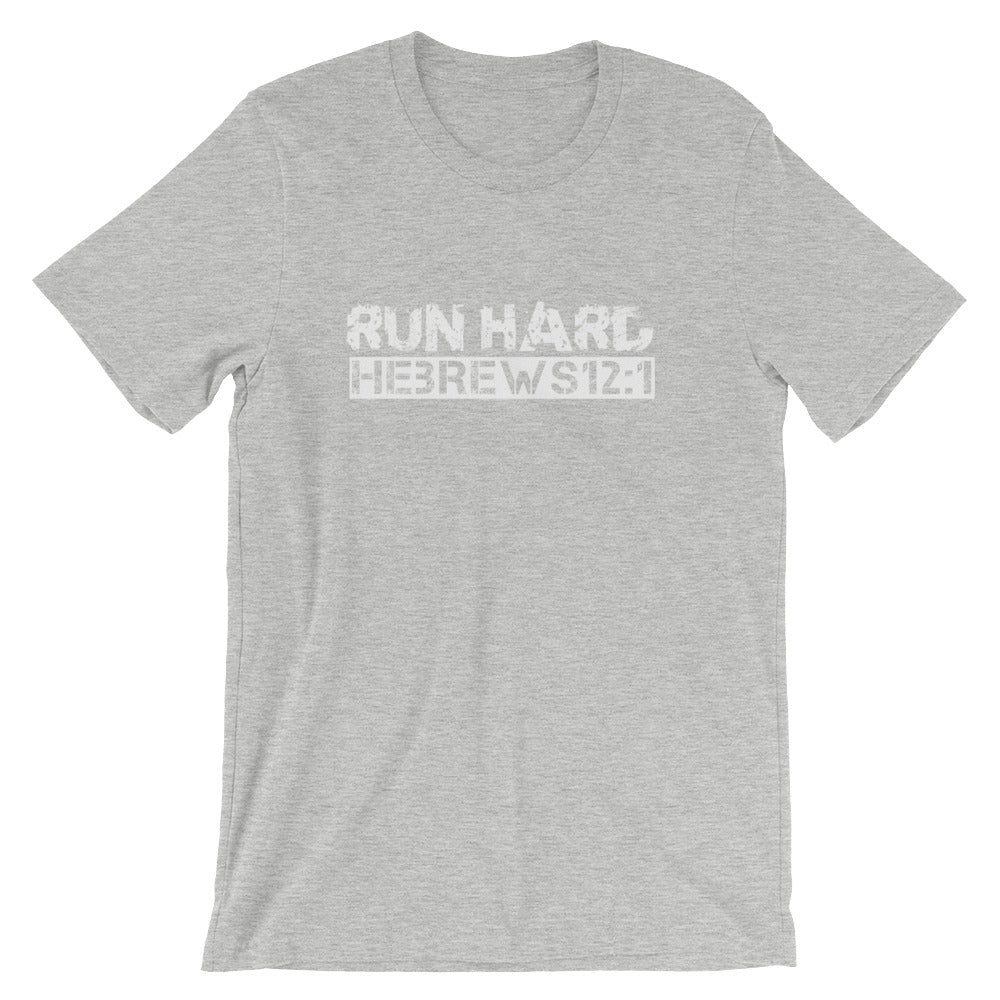 "Hebrews 12:1 ""Run Hard"" Christian T-Shirt for Men/Unisex"