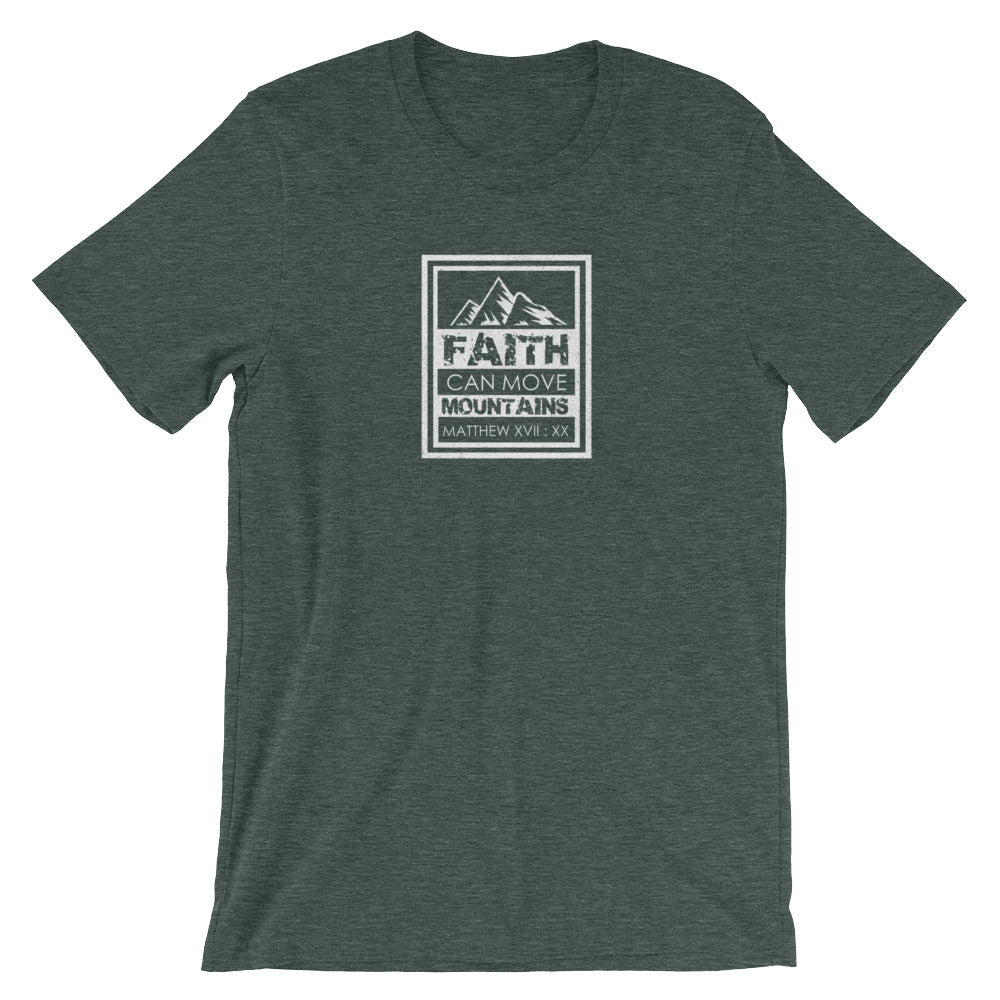 "Matthew 17:20 ""Faith Can Move Mountains"" Christian T-Shirt For Men/Unisex"