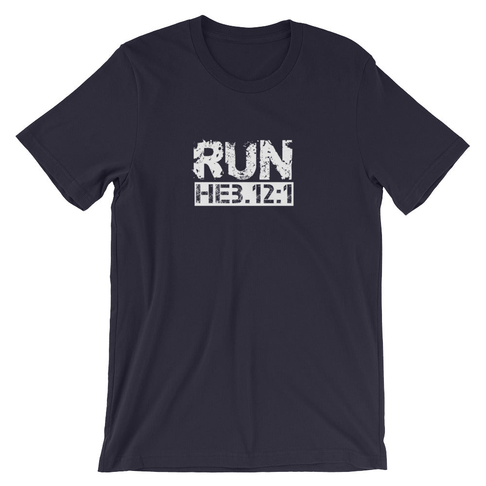 "Hebrews 12:1 ""RUN"" Men's/Unisex Tee Shirt"