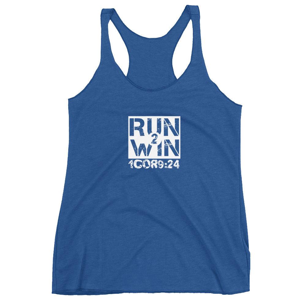"1 Corinthians 9:24 ""Run 2 Win"" Women's Christian Racerback Tank"