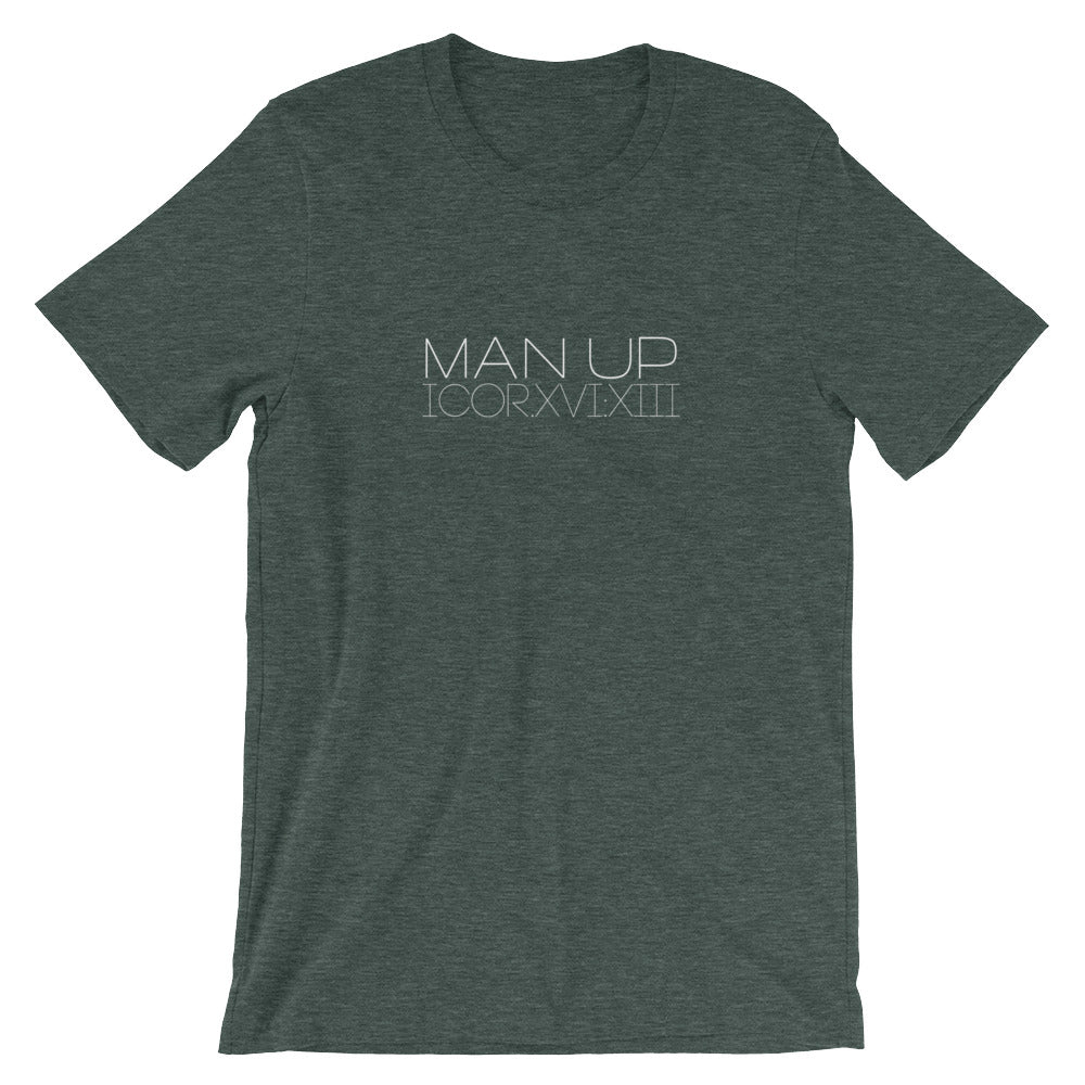 "1 Corinthians 16:13 ""Man Up"" (Roman numerals) Christian T-Shirt for Men/Unisex"