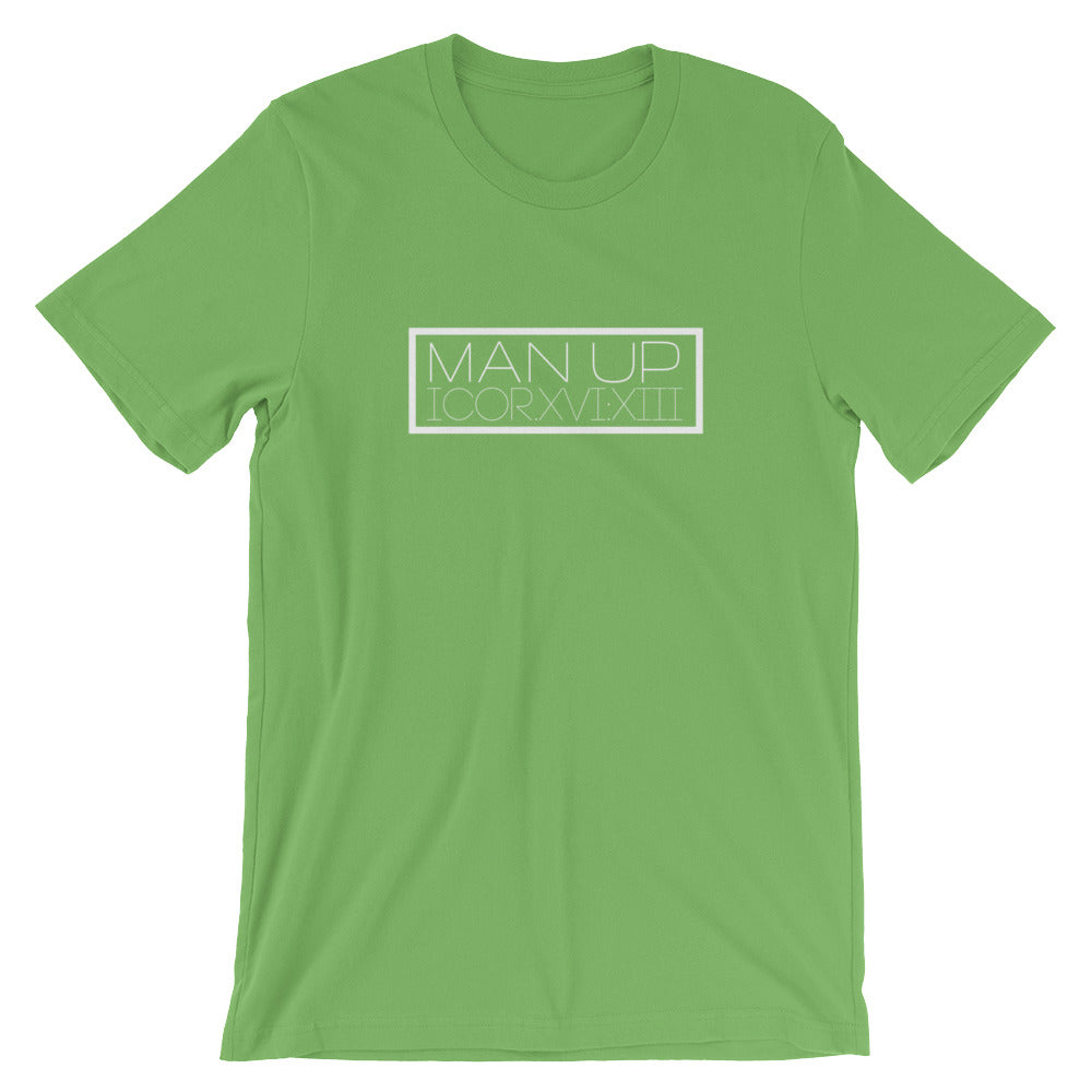 "1 Corinthians 16:13 ""Man Up"" (Roman numerals w/in box) Christian T-Shirt for Men/Unisex"