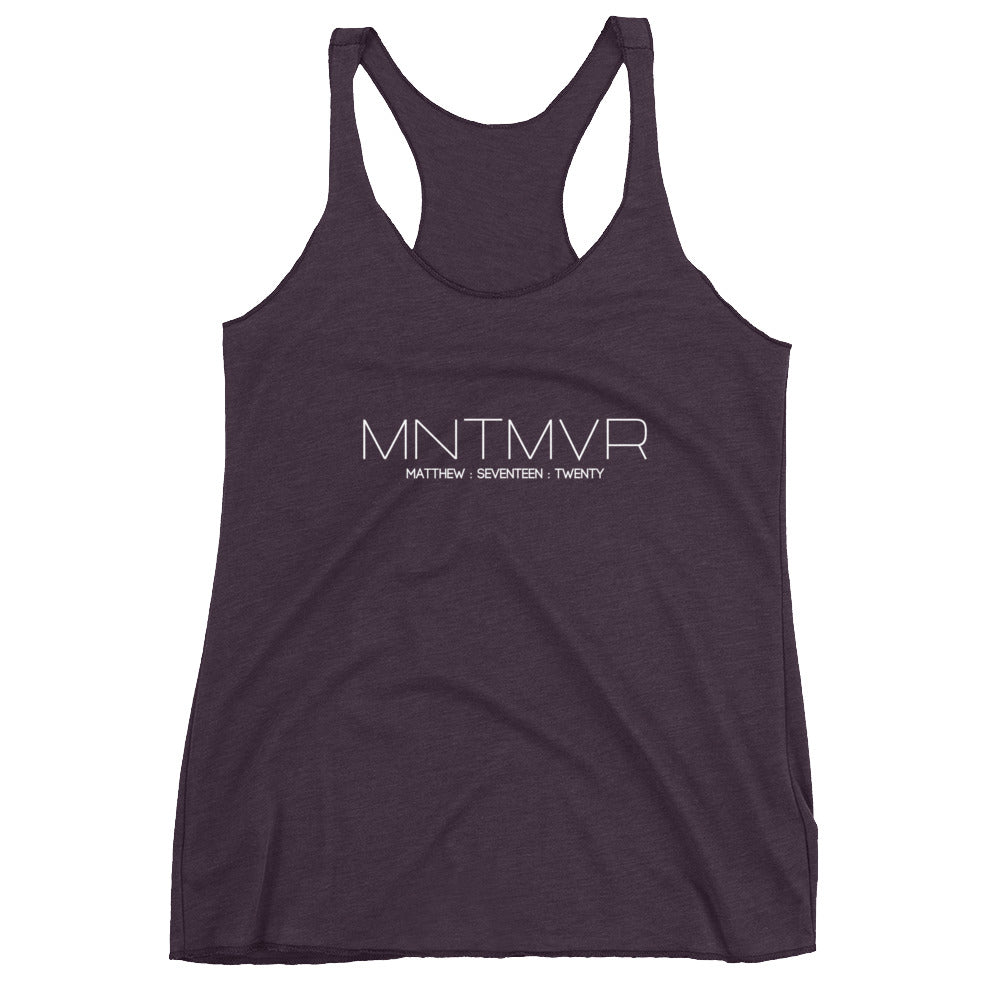 "Matthew 17:20 ""MNTMVR"" (text only) Women's Christian Racerback Tank"