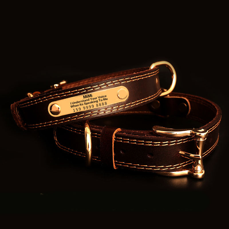 Genuine Leather Dog Collars with Engraved Nameplate