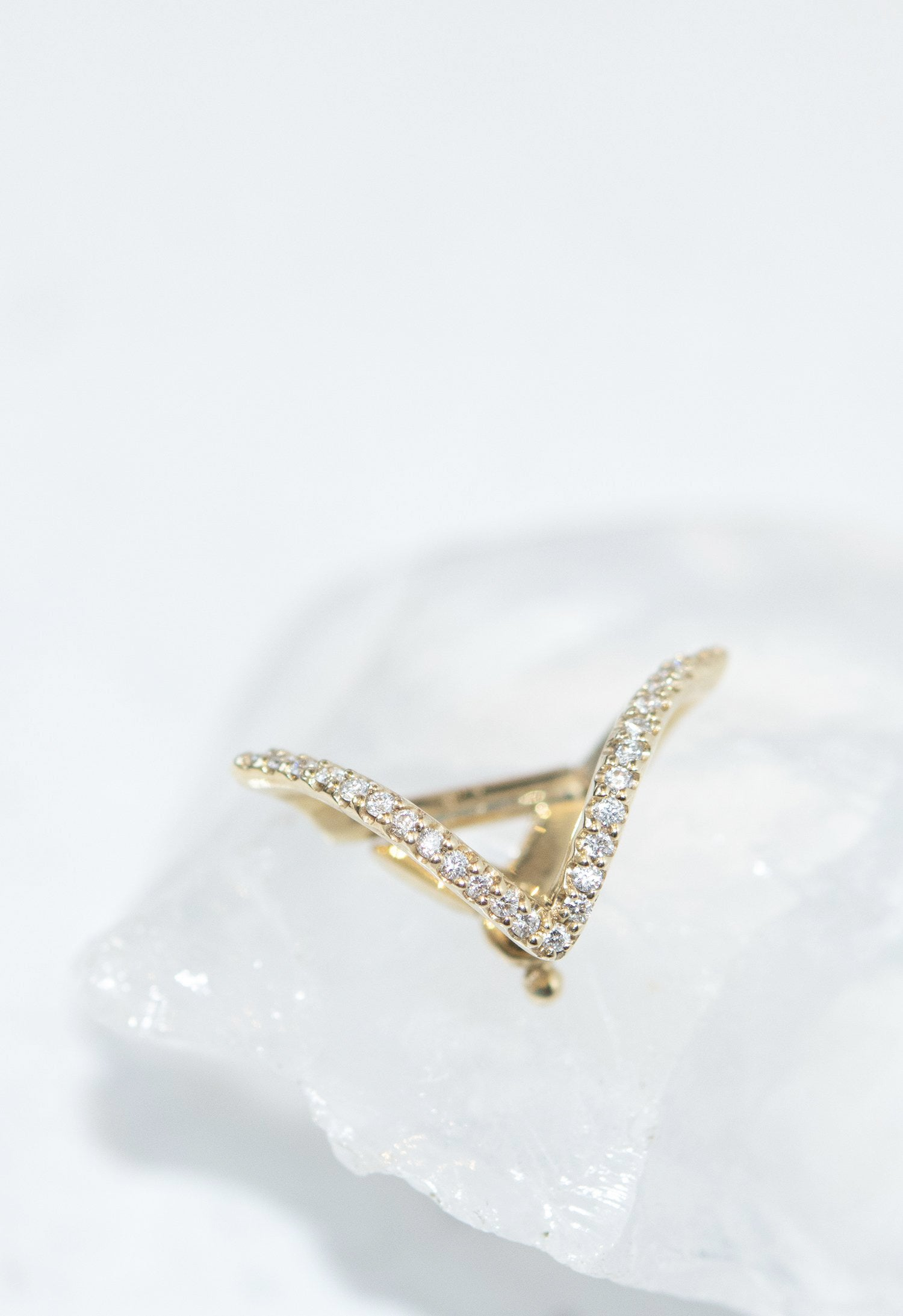 Micro-Pave Curved Triangle Ear Cuff Single Earring