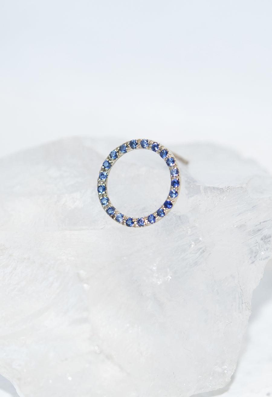 Micro Pave Blue Sapphire Open Circle Stud