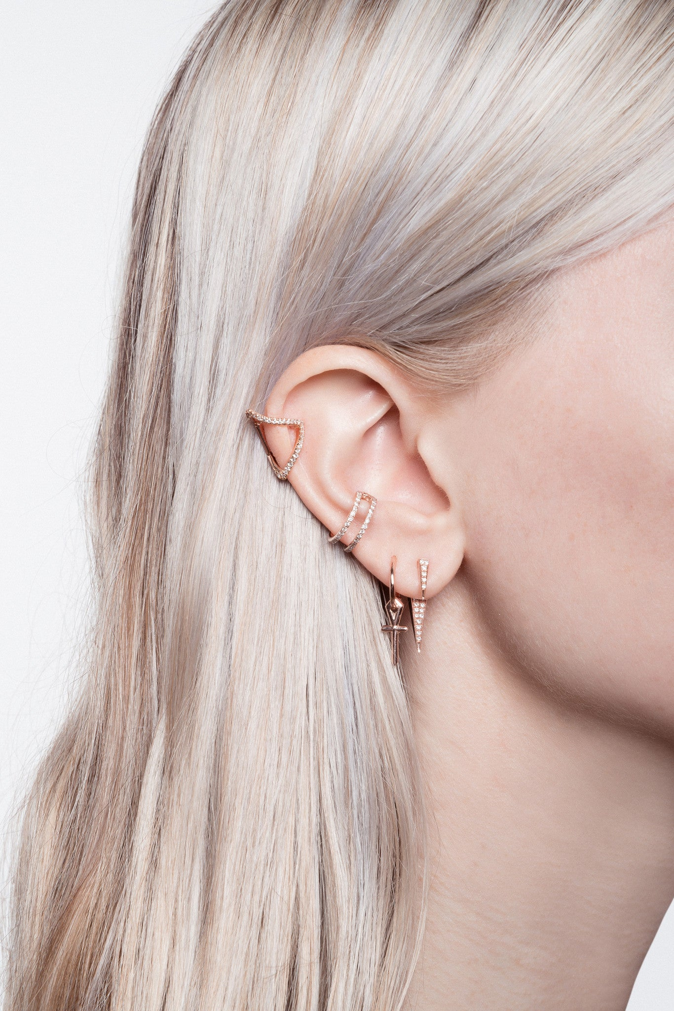 Chain Link Ear Cuff Micro Pave Diamond White Black Diamonds No Piercing Orbital Inner Conch Helix Simple Delicate Double Ring Hoops Single Earring Wendy Nichol fine jewelry designer solid 14k Yellow, Rose, or White Gold Handmade in NYC New York City