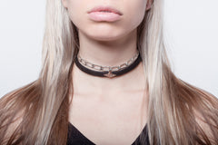 Wendy Nichol Leather Choker Micro Pave Diamond Triangle Lock Black Thin Choker Collar solid 14k Gold Yellow Rose White Gold Black White Diamonds Triangle outline custom made to order Handmade in NYC New York City Jessica Alba choker feminine delicate thin band Victorian witch punk goth