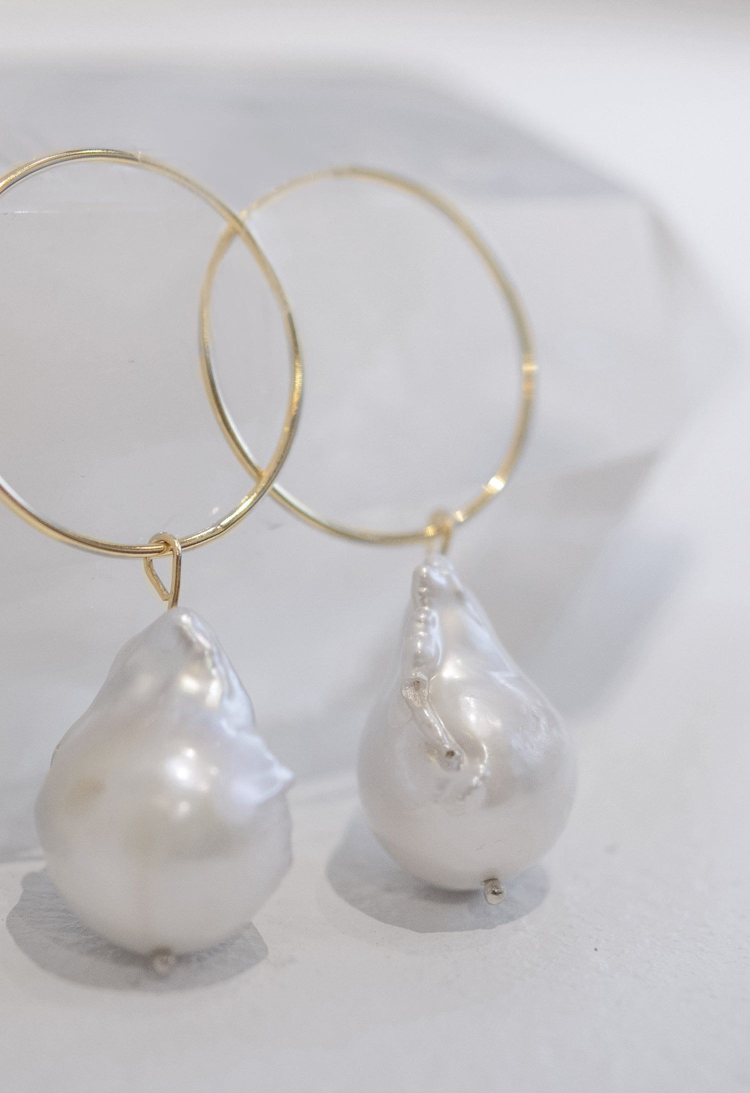 Baroque Pearl on Hoop Earring
