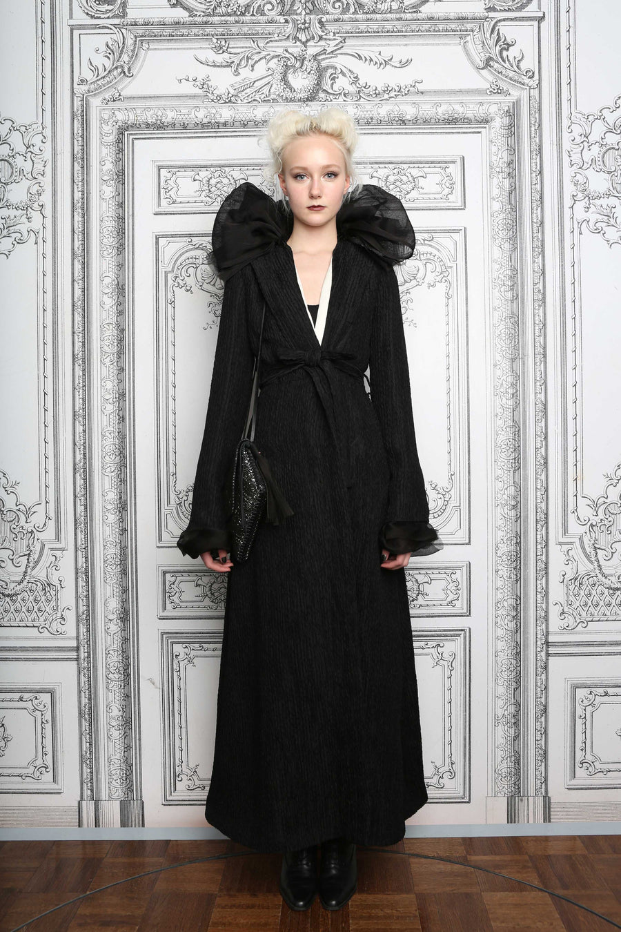 Juliette Fazekas IMG Model The Sage Coat Carl Jung Living Doll AW14 Runway Fashion Show Wendy Nichol Clothing Designer Handmade in NYC New York City Made to Order Made to Measure Custom Tailoring Bespoke Long Textured Silk Jacket Coat Spring Fall detachable Edwardian Victorian Elizabethan Collar White Silk Lining Witch Wizard