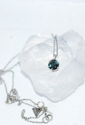 Round Cut Tourmaline Pendant Necklace