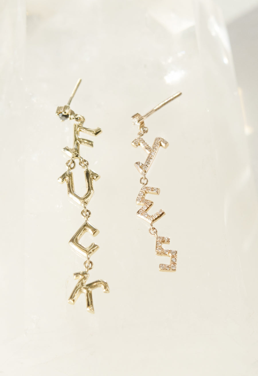 Micro Pave 'FUCK YES' Dangle Stud Earrings