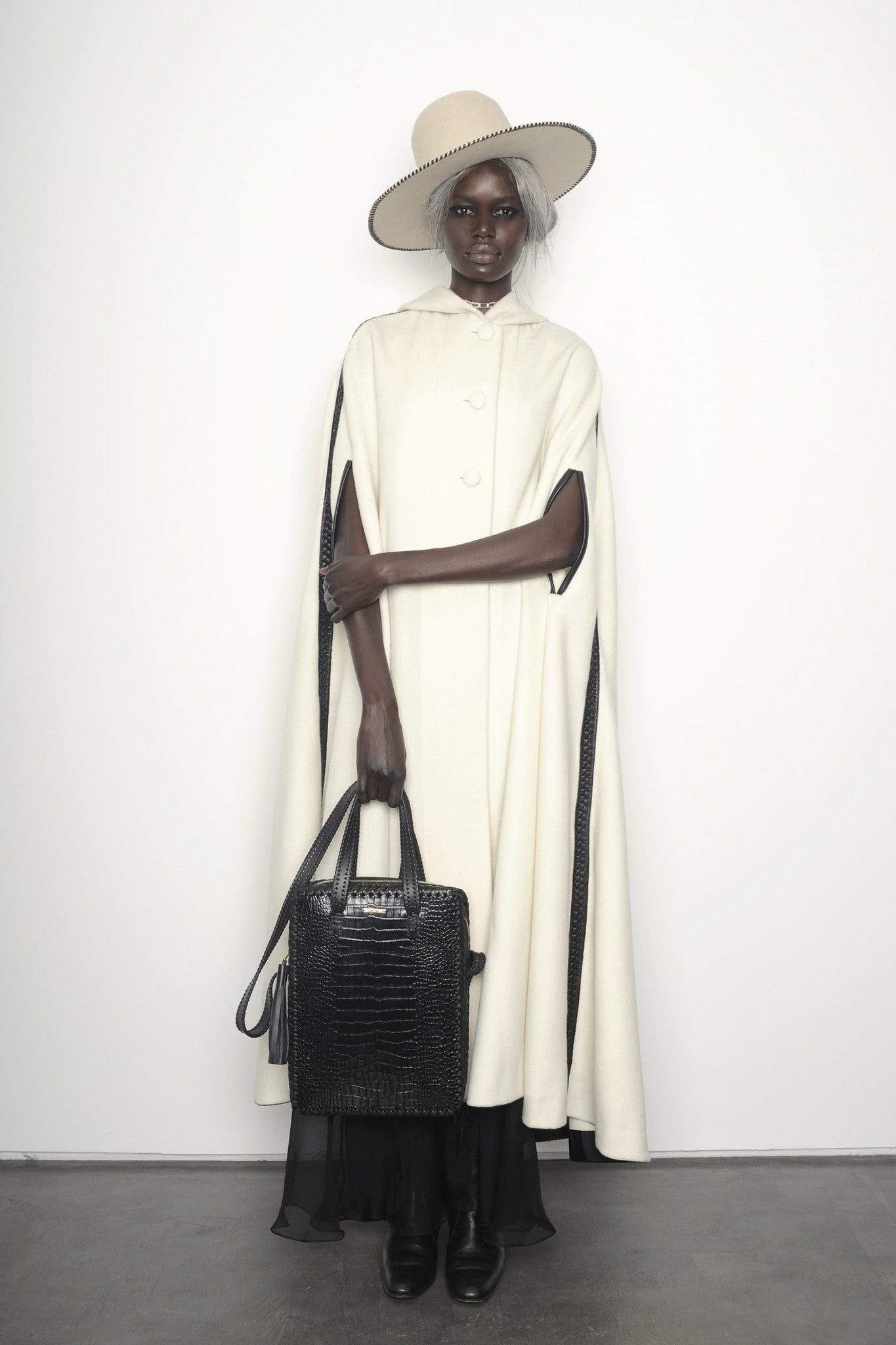 Ajak Deng IMG Model Black Embossed Croc Crocodile Alligator Cowhide Leather Vertical Folio Crossbody Work Briefcase Brief Bag Wendy Nichol Luxury Handbag Purse Designer Handmade in NYC