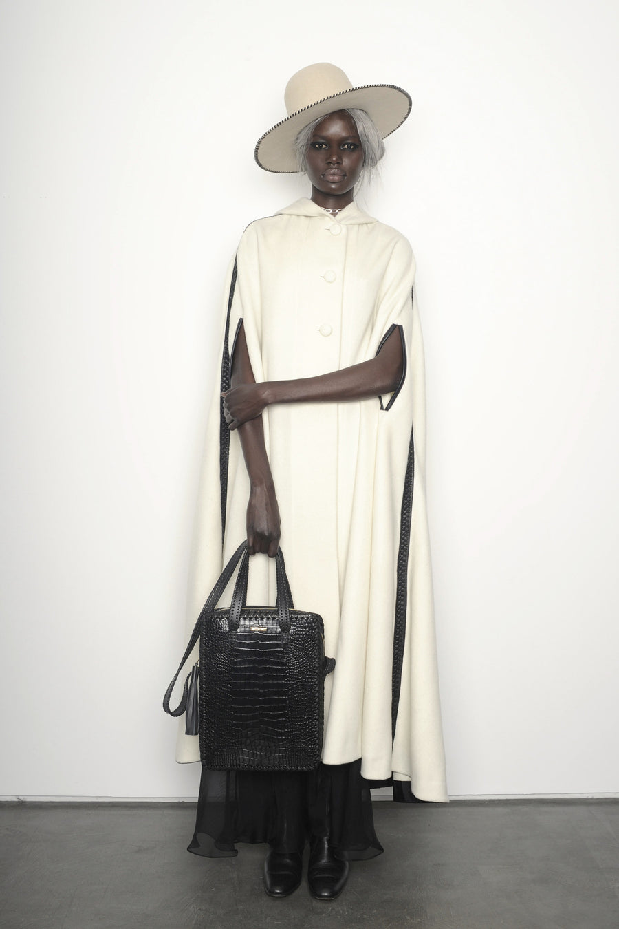 Ajak Deng IMG Model AW15 Queen of Thieves Black Shiny Reflective Embossed Croc Crocodile Alligator Cowhide Leather Vertical Folio Computer Work Briefcase Brief Bag Wendy Nichol Luxury Handbag Purse Designer Handmade in NYC New York City Whipstitch Cross Body Adjustable Strap Zip Zipper fringe Tassel pull durable handles interior pocket High Quality Leather