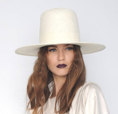 Cream Straw Tall Wide Brim Hat Wendy Nichol Designer Handmade in NYC Witch El Topo Magician Summer Hat Rudi IMG Model Beyonce Formation Hat