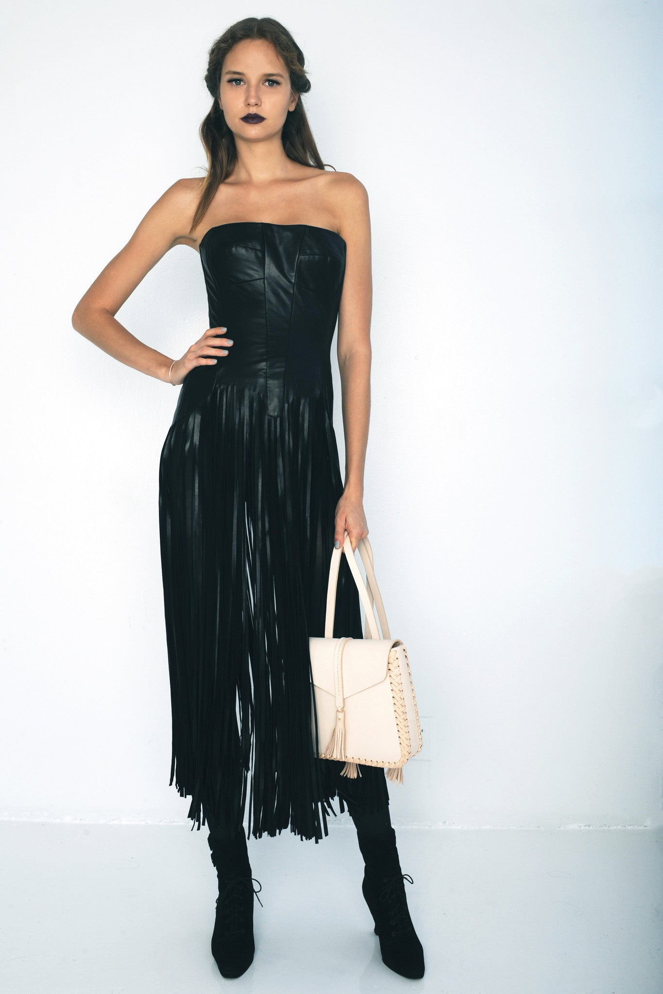 Black Clothes Designers | Belt Of Venus Leather Fringe Corset Dress Wendy Nichol