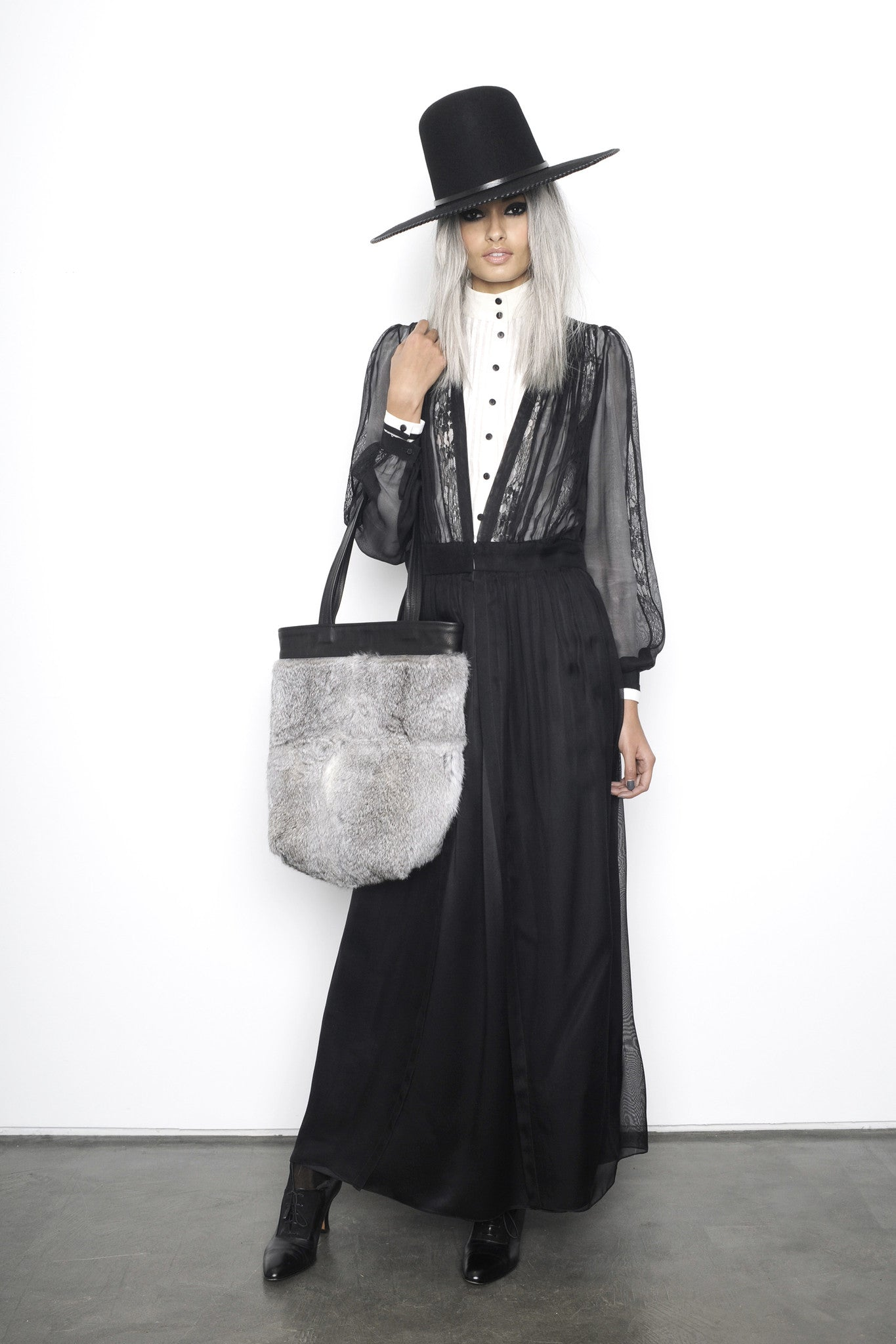 Gizele Oliveira IMG Model Gray Grey Rabbit Fur Tote Black Leather Wendy Nichol Luxury Handbag Purse Bag Designer handmade in NYC one of a kind