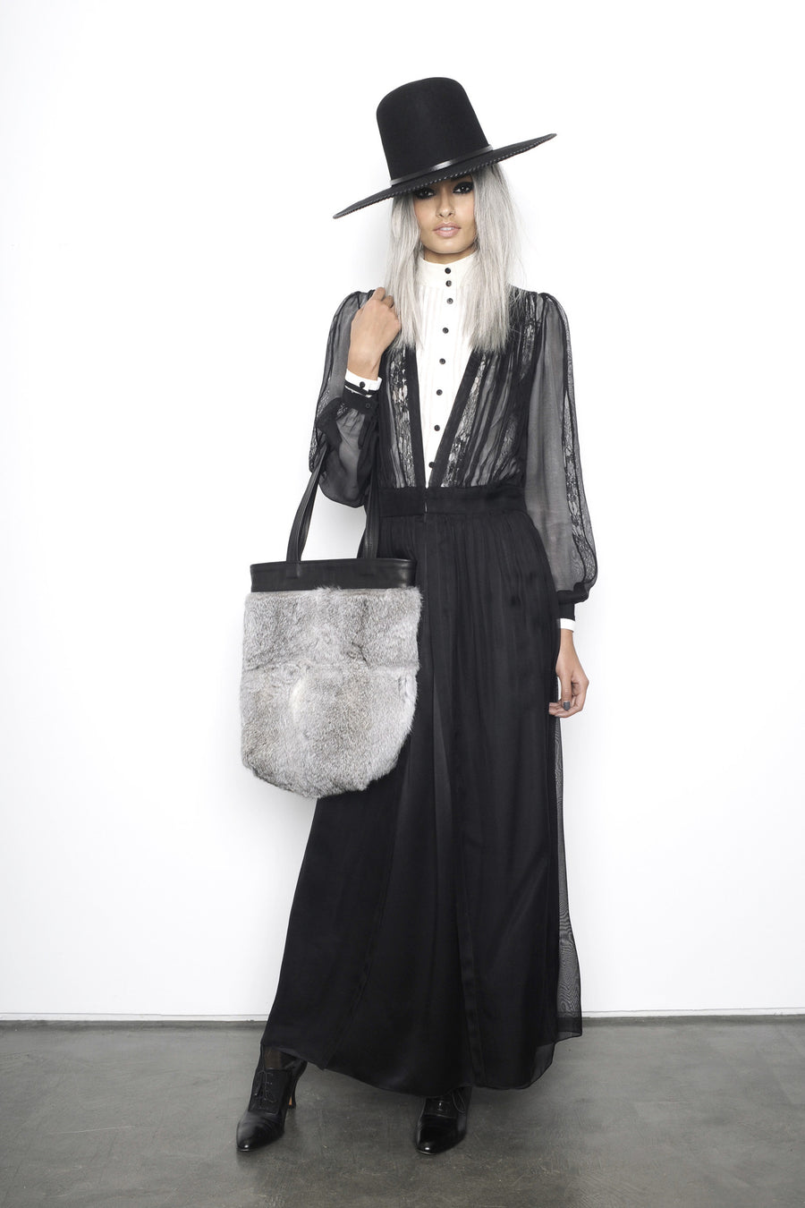 Gizele Oliveira IMG Model Gray Grey One of a Kind Rabbit Fur Tote Black Leather Wendy Nichol Luxury Handbag Purse Bag Designer handmade in NYC New York City one of a kind Durable Handle strap Interior Pocket High Quality Leather AW15 Queen of Thieves