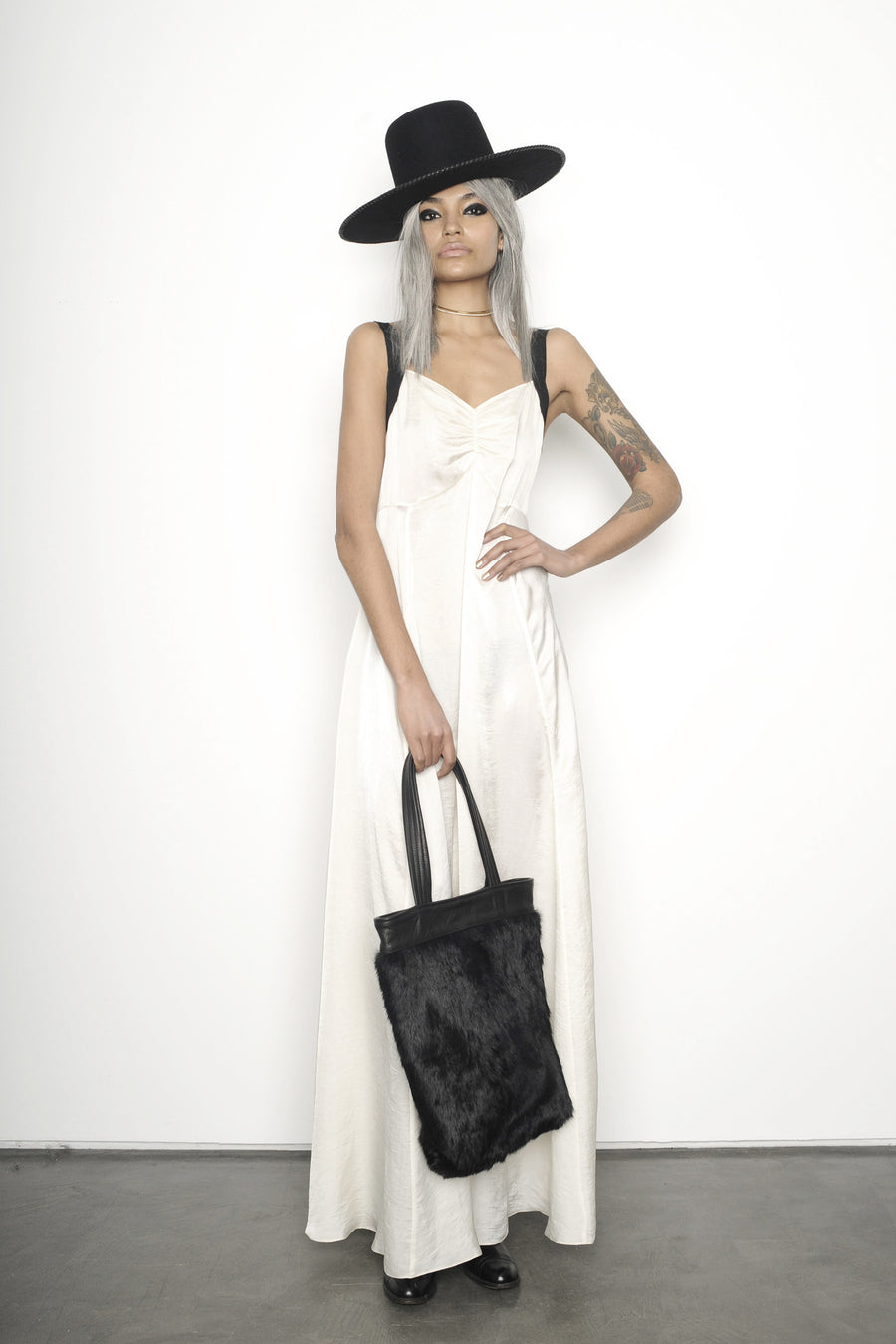 Laura James IMG Model Wendy Nichol Clothing Fashion Designer Runway Show AW15 Queen of Thieves Witch Girl Gang Whipstitch Wide Brim Hat Silk White Empire Waist Slip Dress Black Straps Custom Tailoring Fabric Color Made to Measure Order Handmade in NYC