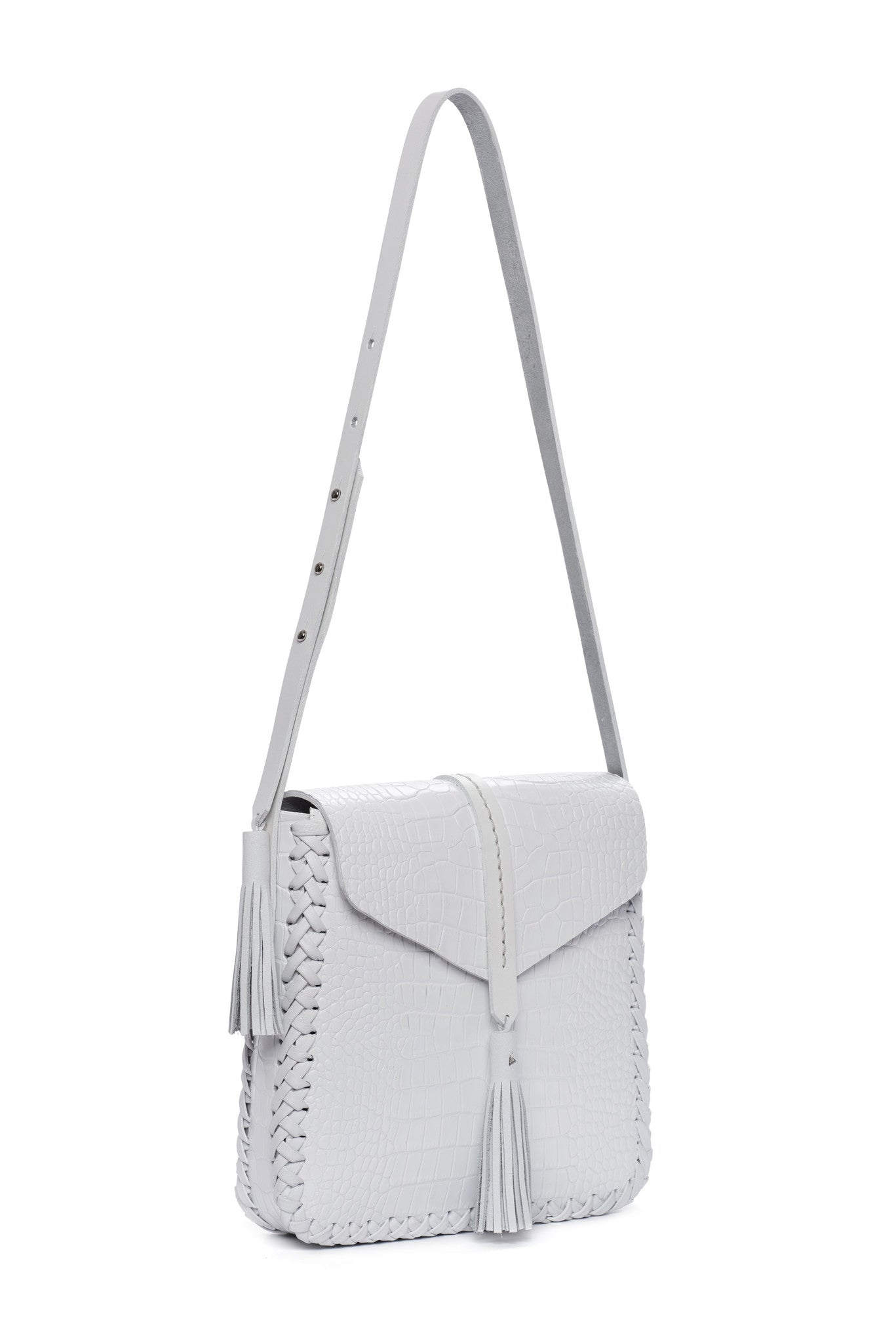 Leather Saddle Flap Bag Wendy Nichol cross body  Handmade Handbag in NYC white embossed Croc  Crocodile Alligator Leather