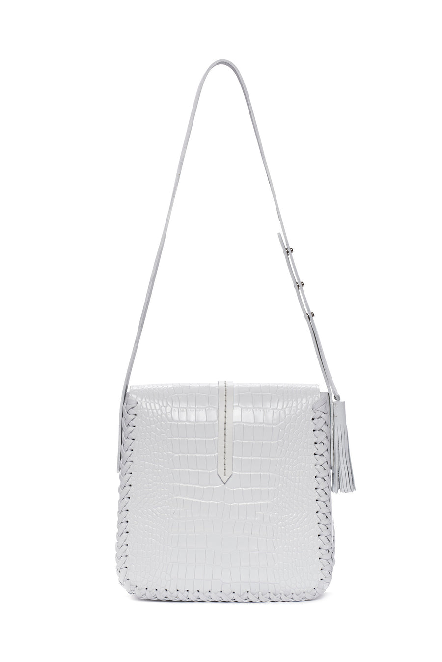 Shiny Summer White Embossed Croc Crocodile Alligator Cow Cowhide Soft Lambskin Embossed Basket Weave pattern Leather Classic Saddle Envelope Flap Closure Bag Wendy Nichol Handbag Purse Designer Handmade in NYC New York City Cross Body Adjustable Strap interior pocket Fringe Tassel Tassels Structured Braided Square High Quality Leather
