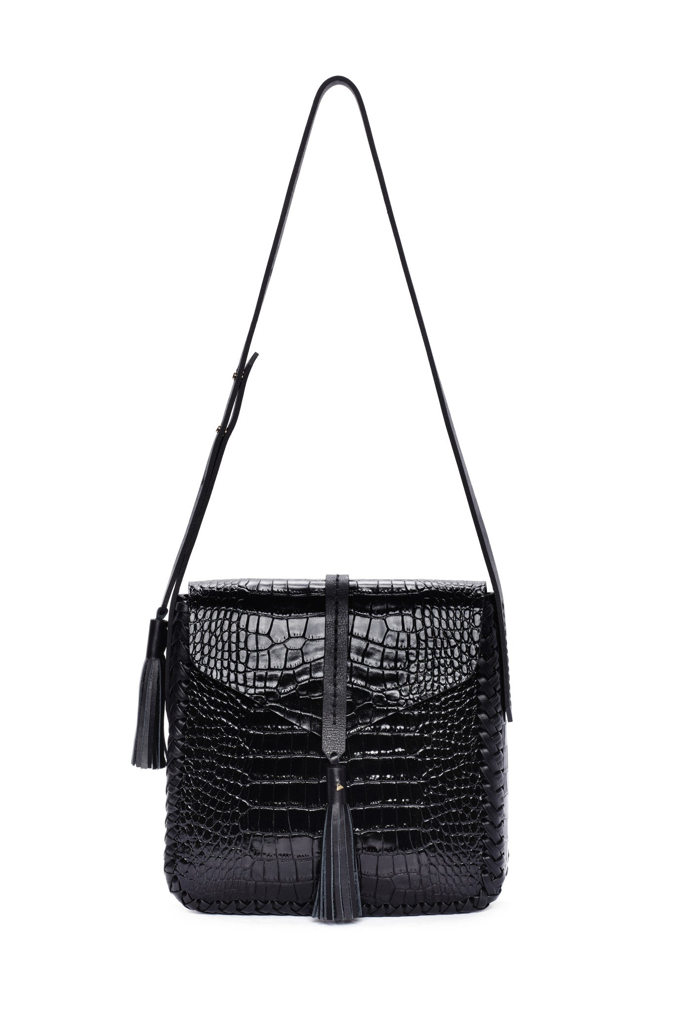 Shiny Reflective Black Embossed Croc Crocodile Alligator Cow Cowhide Soft Lambskin Embossed Basket Weave pattern Leather Classic Saddle Envelope Flap Closure Bag Wendy Nichol Handbag Purse Designer Handmade in NYC New York City Cross Body Adjustable Strap interior pocket Fringe Tassel Tassels Structured Braided Square High Quality Leather