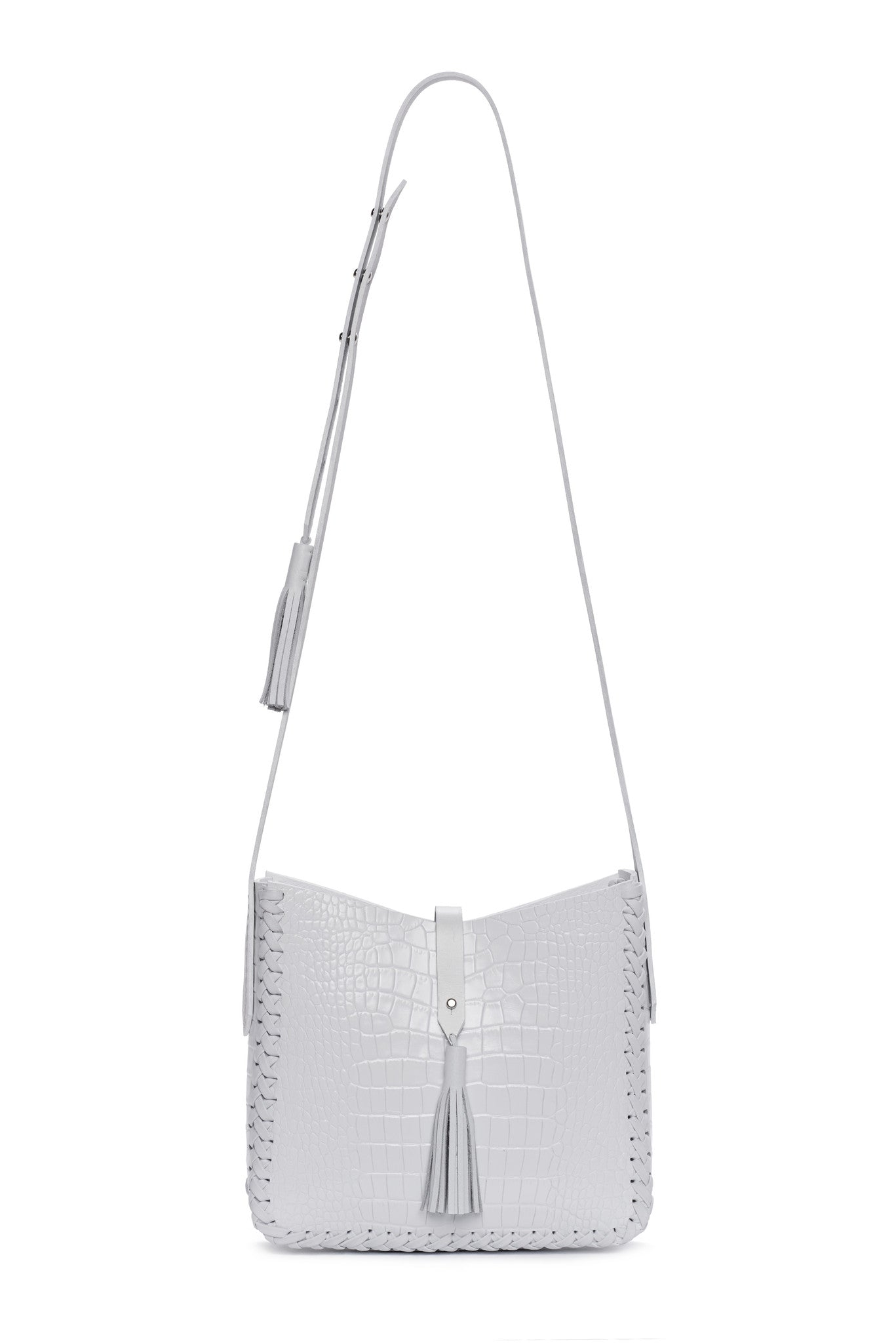 Leather Saddle Bag Wendy Nichol cross body  Handmade Handbag in NYC white embossed Croc  Crocodile Alligator Leather