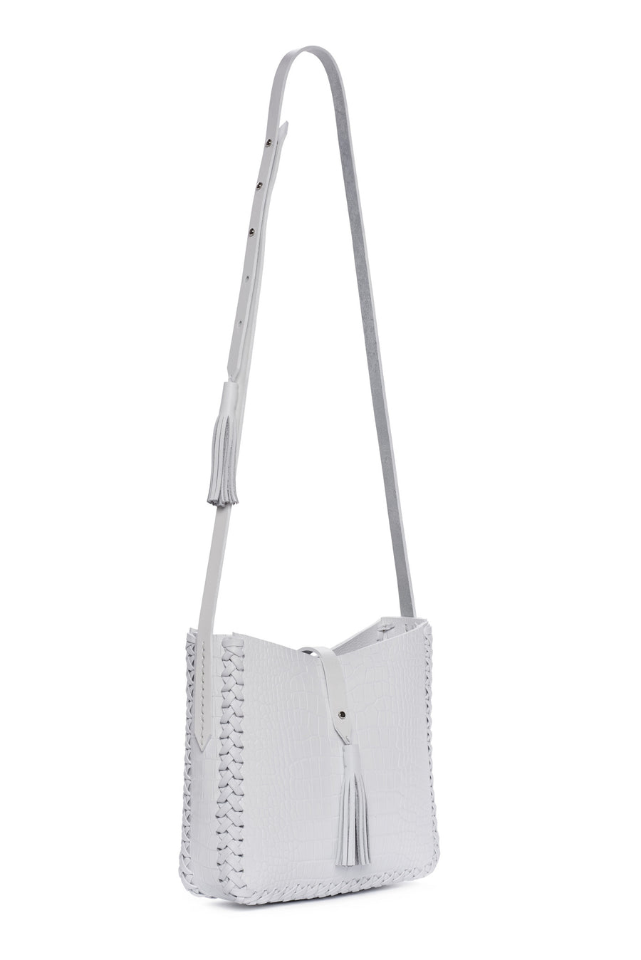 Summer White Embossed Croc Crocodile Alligator Cow Cowhide Leather Saddle Bag Wendy Nichol Handbag Purse Designer Handmade in NYC New York City black sued Whipstitch V Edge Open Square Structured Braided Adjustable Strap Fringe Tassels Tassel High Quality Leather