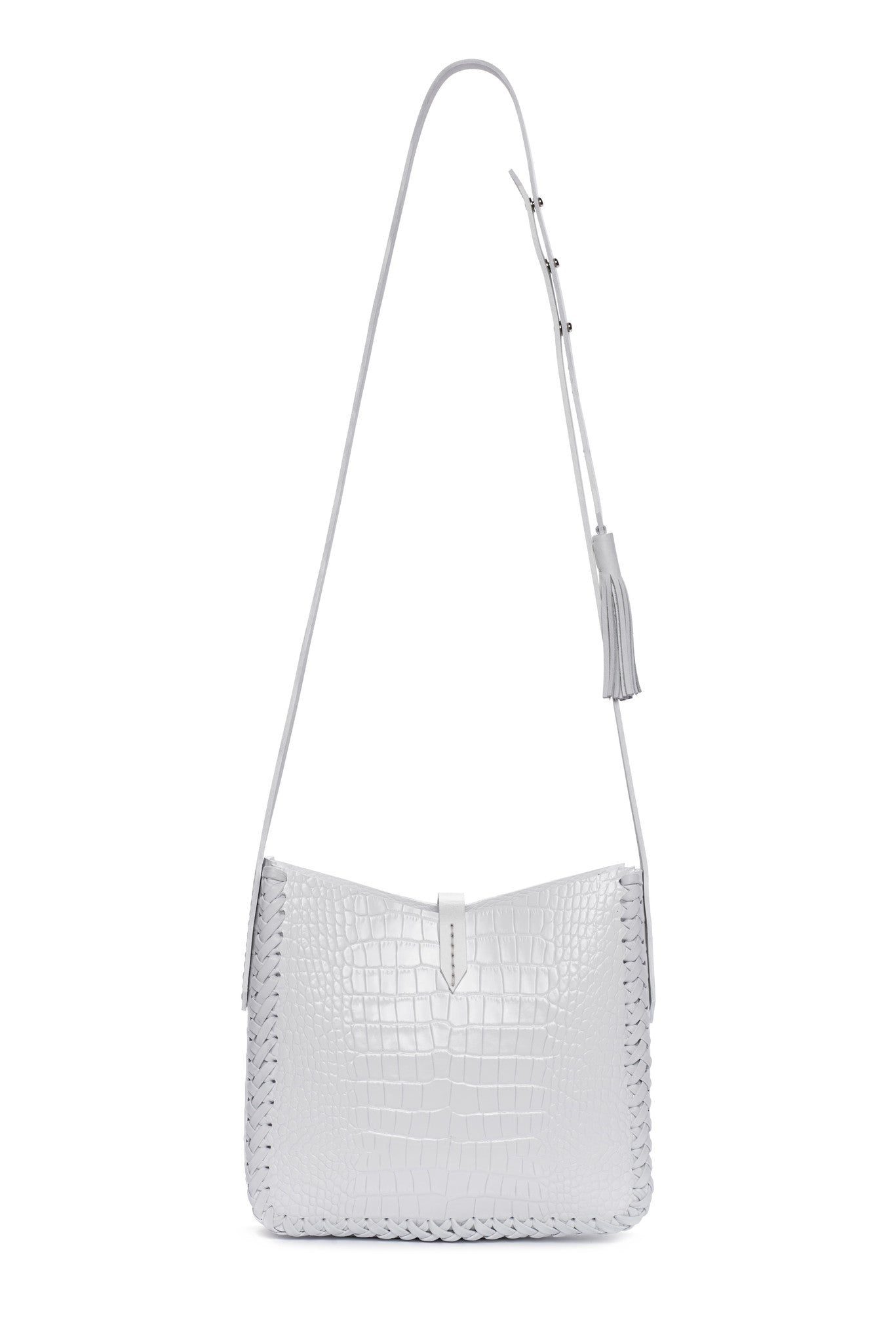 White Summer Embossed Croc Crocodile Alligator Cow Cowhide Leather Saddle Bag Wendy Nichol Handbag Purse Designer Handmade in NYC New York City black sued Whipstitch V Edge Open Square Structured Braided Adjustable Strap Fringe Tassels Tassel High Quality Leather