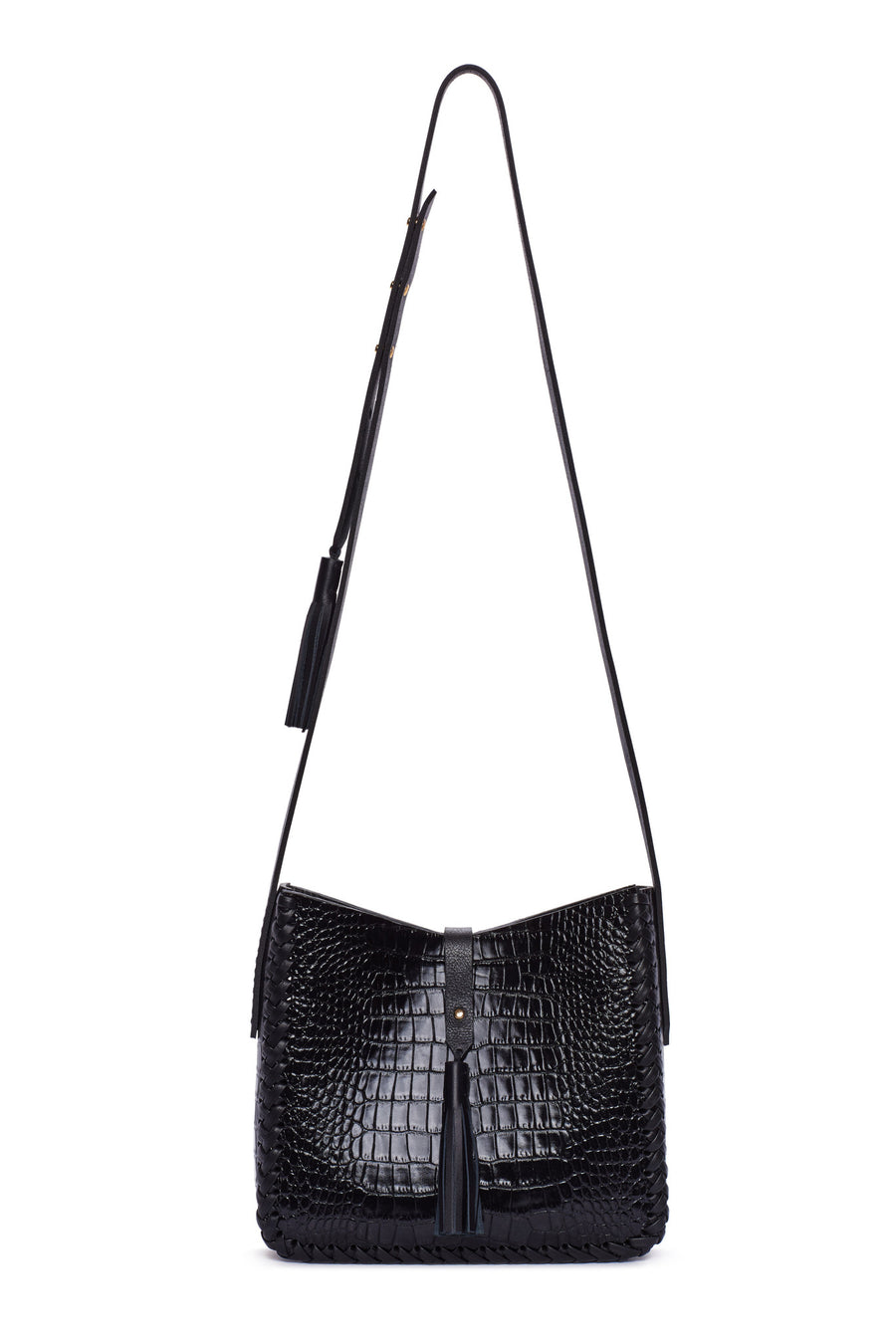 Black Embossed Croc Crocodile Alligator Cow Cowhide Leather Saddle Bag Wendy Nichol Handbag Purse Designer Handmade in NYC New York City black sued Whipstitch V Edge Open Square Structured Braided Adjustable Strap Fringe Tassels Tassel High Quality Leather