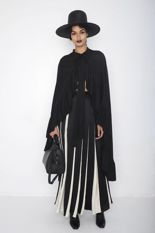Gizele Oliveira IMG Model Sunset Ruffle Silk Opera Cape & Long Pleated Black & White Silk Skirt Wendy Nichol SS16 fashion show ready to wear clothing Handmade in NYC Runway Fashion Show