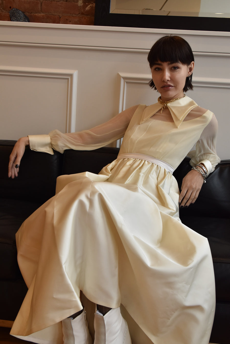 Vintage 1960's Silk Double Collar Gown with Silk Organza Sleeves and Silk Taffeta Double Cuff