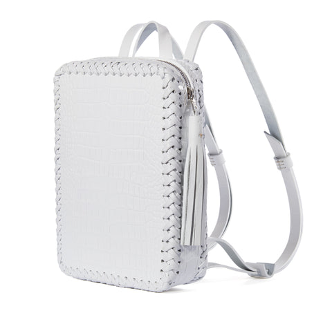 White Summer Shiny Reflective Embossed Croc Crocodile Alligator Cowhide Leather Mini Folio Backpack Wendy Nichol Handbag Purse Designer Handmade in NYC New York City Rectangle Square Braided Structured Structural French Work School Backpack Fringe Tassel Adjustable Straps Zip Zipper High Quality Leather Clueless 90s Cher