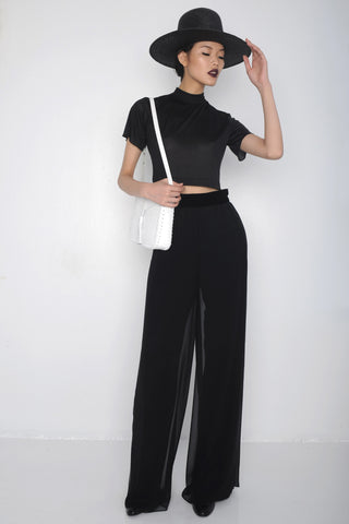 Chen Lin IMG Model Death Mist Silk Mock Turtleneck Crop Top & Mesh Wide Leg Chiffon Pants Velvet Waistband Wendy Nichol SS16 Fashion Show Ready to wear clothing SS16 Guardians of Light Handmade in NYC custom tailoring Made to Measure Order